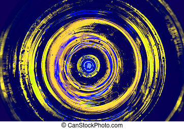 Hypnosis Spiral, concept for hypnosis, descending pattern, abstract background of scintillating circles white grey brown black green blue lime yellow orange maroon violet pink turquoise colored texture