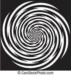 Black and white descending spiral design pattern, concept for hypnosis, unconscious, chaos, extra sensory perception, psychic, stress, strain, optical illusion.