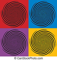 Hypnosis Spiral Design Patterns - Four hypnosis spiral...