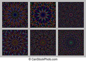 Hypnotic abstract radial tiled pattern mosaic background set