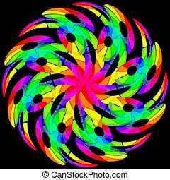 Hypnotic color swirl. Illustration on black background