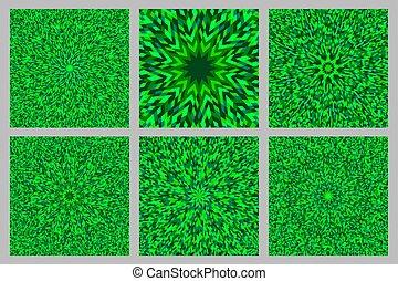 Hypnotic dynamic geometrical radial pattern background design set