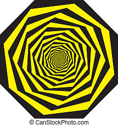 Hypnotic honeycomb on yellow and black