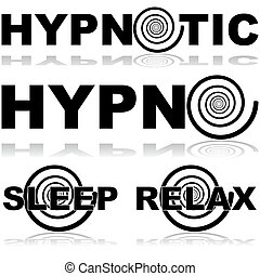 Icon set showing a hypnosis spiral in combination with certain words normally associated with this practice