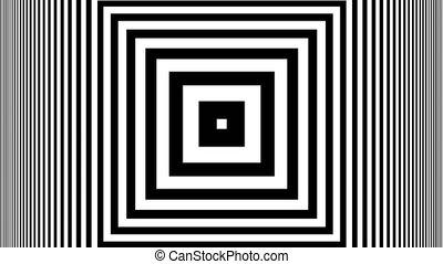Hypnotic Rhythmic Movement Black And White stripes. Seamless...