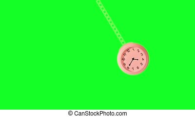 Clock, hanging on the rope, rocks hypnotically to the right and left on a green background for the chroma key with arrows in timelapse.