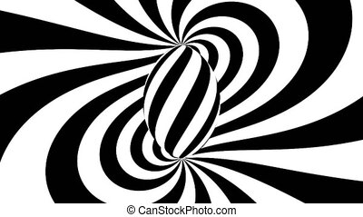 Hypnotic spiral. Black and white hypnosis. Seamless loop