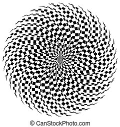 Hypnotic spiral / burst element in checkered fashion....