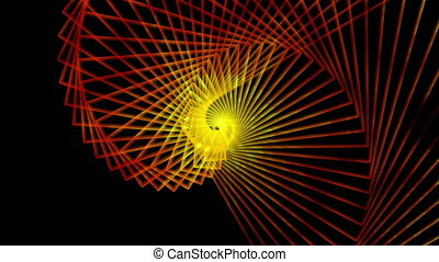 hypnotic tunnel with red and yellow lines background