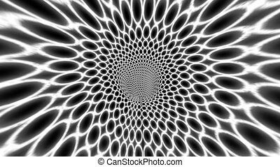 Hypnotic Tunnel With White And Black Circles.