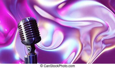hypnotique, en mouvement, métallique, microphone, mouvement, formes, liquide, contre