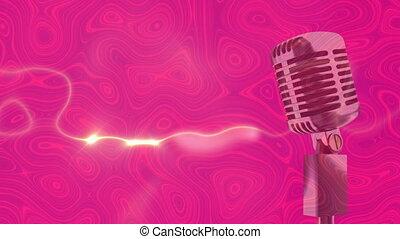hypnotique, en mouvement, microphone, mouvement, formes, liquide, contre