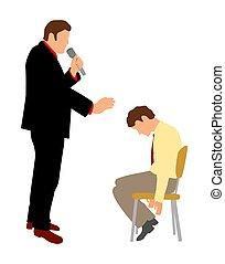 Hypnotist hypnotizes man. Color vector flat illustration...