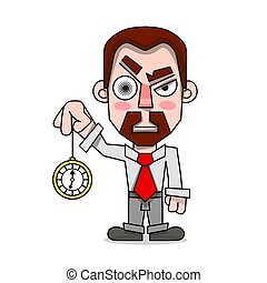 hypnotist with a clock in a shirt and tie vector illustration
