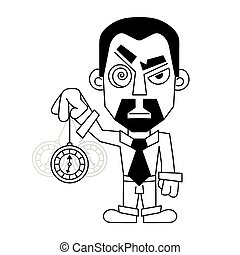 hypnotist with a clock in a shirt and tie vector...