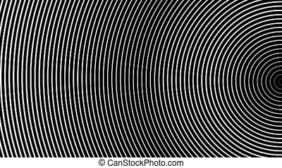 Hypnotizing abstraction of white half rings moving on a black background