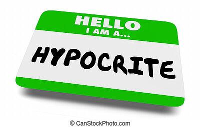 hypocriet, label, naam, leugenaar, illustratie, vervalsing, 3d