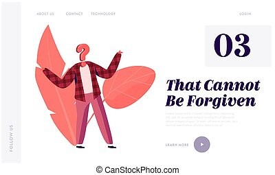 Hypocrisy and Identity Website Landing Page. Unrecognizable Anonymous Person with Question Mark Instead of Head Shrug. Confusing Situation, Asking Web Page Banner. Cartoon Flat Vector Illustration