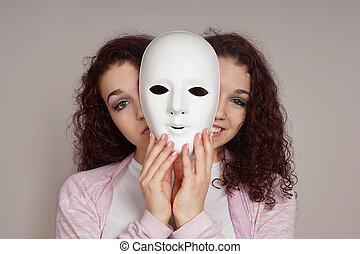 hypocrite, femme, concept, dépression, maniaque