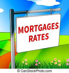 hypothèque évalue, représente, 3d, illustration, propriété, vrai