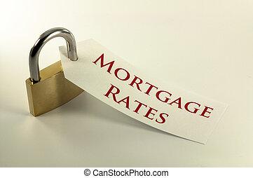 hypothèque évalue, verrouillé, bas, concept