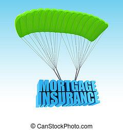 hypothèque, assurance, 3d, concept, illustration