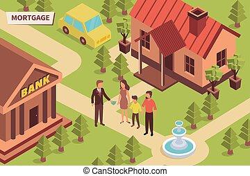 hypothèque, banque, isométrique, composition