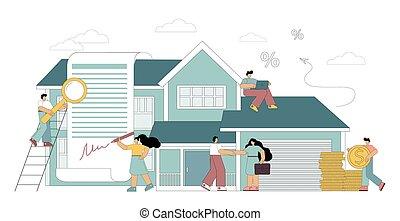 hypothèque, concept, prêt