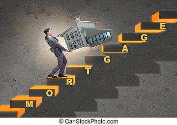hypothèque, dette, financement, concept, homme affaires