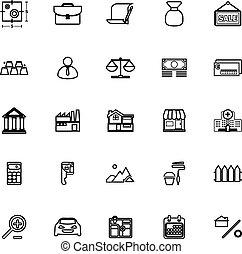 hypothèque, icônes, prêt, fond, maison, ligne, blanc
