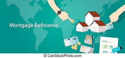 hypothèque, maison, refinance, maison, dette, prêt