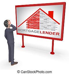 hypothèque, moyens, prêt, prêteur, rendre, maison, 3d