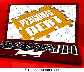 hypothèque, personnel, ordinateur portable, pauvreté, dette, prêts, spectacles