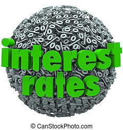 hypothèque, symbole, cent signe, sphère, taux, intérêt, prêt