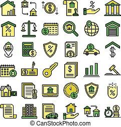 hypothèque, vecteur, icônes, plat