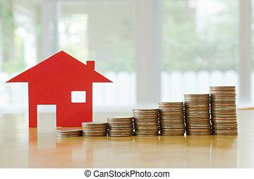 hypotheek, concept, door, geld, woning, van, de, muntjes