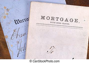 hypotheek, en, garantie, daad