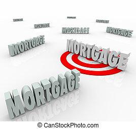 hypotheek, laag, belangstelling, best, optie, geldschieter, ...