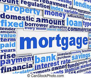 hypotheek, poster, conceptueel, ontwerp