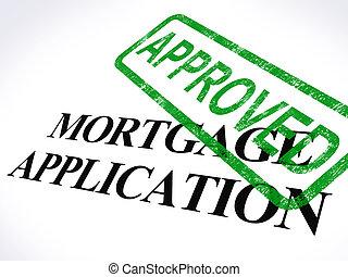 hypotheek, postzegel, lening, goedgekeurd, toepassing, thuis, afgesproken, optredens