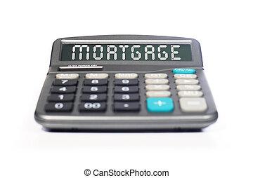 hypotheek, rekenmachine, vrijstaand, op, witte
