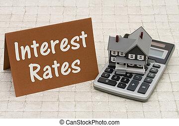 hypotheek, rentevoeten, een, grijs, woning, bruine , kaart, en, rekenmachine, op, steen, achtergrond