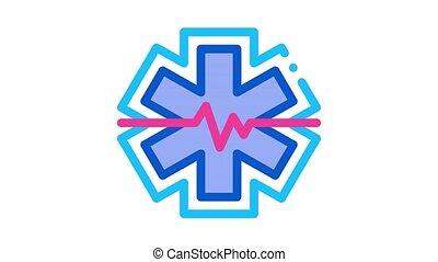hypothermie, problèmes, cardiogramme, animation, icône