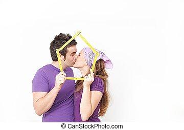 hyra, begrepp, par, nytt hem, lycklig, eller, uppköp, första