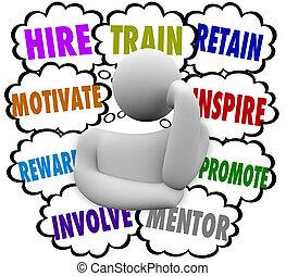 hyra, tåg, motivera, belöna, inspirera, behålla, tanke,...