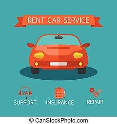 hyra, tjänste- bil, vektor, begrepp, in, lägenhet, stil