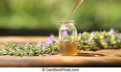 hyssop, essentiële olie, in, mooi, fles, op, tafel