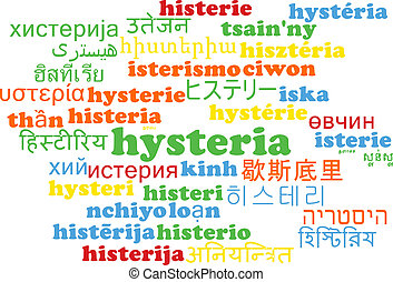Hysteria multilanguage wordcloud background concept -...