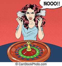 Hysteric Woman Behind Roulette Table. Casino Gambling. Pop Art Vector retro illustration