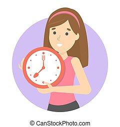hyvling, mål., kvinna, metafor, klocka, holdingen